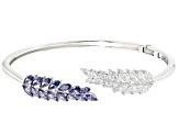 Blue And White Cubic Zirconia Rhodium Over Sterling Silver Bracelet 8.59ctw