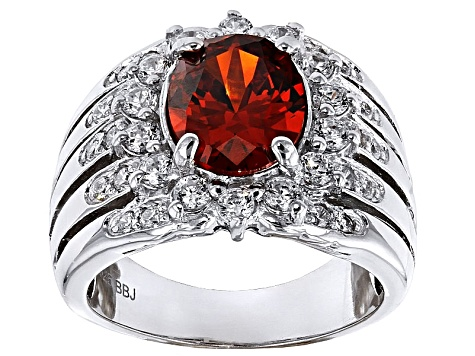 Red And White Cubic Zirconia Silver Ring 4.96ctw