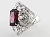 Orange And White Cubic Zirconia Rhodium Over Sterling Silver Ring 12.35ctw