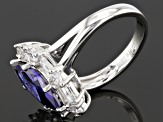 Blue And White Cubic Zirconia Rhodium Over Silver Ring 6.73ctw