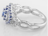 Blue And White Cubic Zirconia Rhodium Over Sterling Silver Ring 1.74ctw