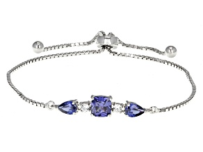 Blue And White Cubic Zirconia Rhodium Over Sterling Silver Bracelet 3.00ctw