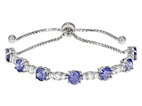 Blue And White Cubic Zirconia Silver Bracelet 12.50ctw