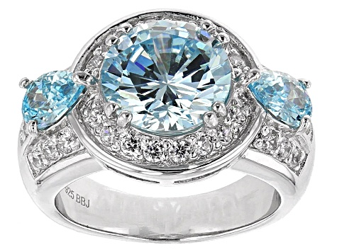 Blue And White Cubic Zirconia Silver Ring 5.78ctw