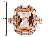 Pink And White Cubic Zirconia 18k Rose Gold Over Silver Ring 9.56ctw