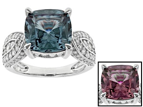 Alexandrite Simulant And White Cubic Zirconia Rhodium Over Sterling Silver Ring 7.04ctw