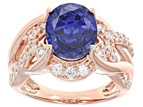 Blue And White Cubic Zirconia 18k Rose Gold Over Sterling Silver Ring 7.78ctw
