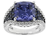 Blue And White Cubic Zirconia Rhodium Over Sterling Silver Ring 9.87ctw