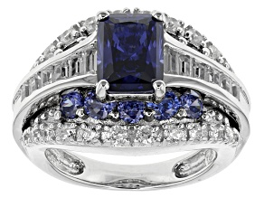 Blue And White Cubic Zirconia Rhodium Over Sterling Silver Ring 6.42ctw