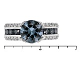 Lab Created Sapphire And White Cubic Zirconia Rhodium Over Sterling Silver Ring 4.46ctw