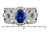 Blue And White Cubic Zirconia Silver Ring 2.59ctw