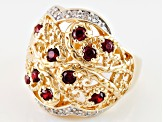 Red And White Cubic Zirconia 18k Yellow Gold Over Silver Ring 1.40ctw
