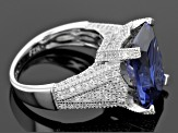Blue And White Cubic Zirconia Rhodium Over Sterling Silver Ring 15.27ctw
