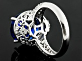 Blue And White Cubic Zirconia Rhodium Over Sterling Silver Ring 14.87ctw