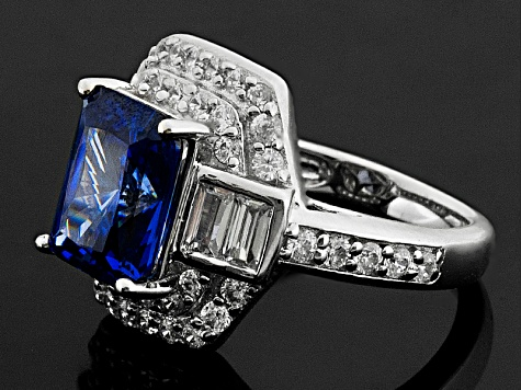 Blue And White Cubic Zirconia Rhodium Over Sterling Silver Ring 8.36ctw