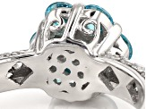 Blue And White Cubic Zirconia Silver Ring 1.89ctw