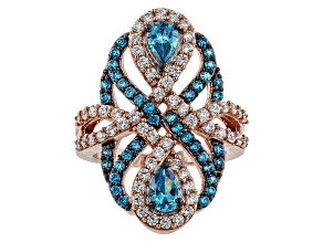 Blue And White Cubic Zirconia 18k Rose Gold Over Silver Ring 3.84ctw