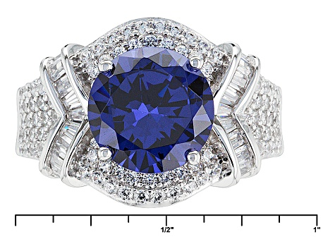 Blue And White Cubic Zirconia Silver Ring 7.19ctw