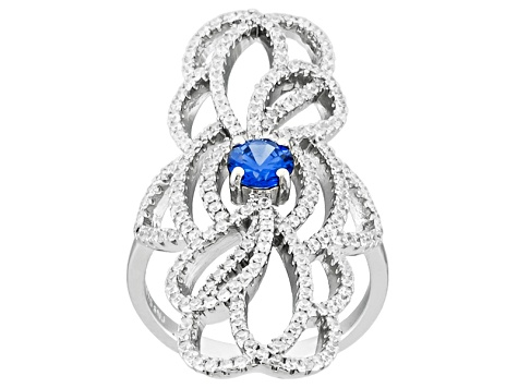Blue And White Cubic Zirconia Silver Ring 2.50ctw