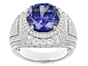 Blue And White Cubic Zirconia Silver Ring 12.52ctw