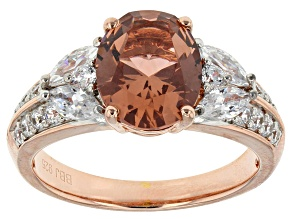 Tourmaline Simulant And White Cubic Zirconia 18k Rose Gold Over Silver Ring 4.20ctw