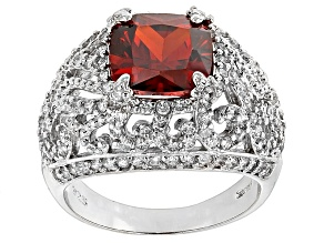 Red And White Cubic Zirconia Silver Ring 7.15ctw.