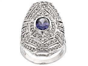 Blue And White Cubic Zirconia Silver Ring 3.27ctw
