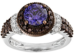Blue Brown And White Cubic Zirconia Rhodium Over Silver Ring 3.55ctw