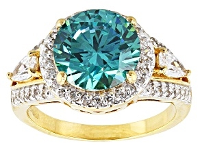 Blue And White Cubic Zirconia 18k Yellow Gold Over Silver Ring 7.58ctw