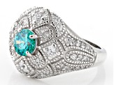 Blue And White Cubic Zirconia Silver Ring 2.29ctw