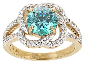 Blue And White Cubic Zirconia 18k Yellow Gold Over Silver Ring 3.51ctw