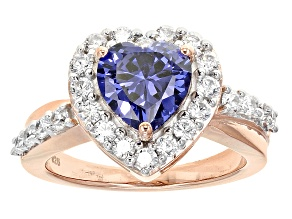 Blue And White Cubic Zirconia Rhodium Over Sterling & 18k Rose Gold Over Silver Ring 4.84ctw