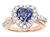 Blue And White Cubic Zirconia Rhodium Over Sterling & 18k Rose Gold Over Silver Heart Ring 4.84ctw