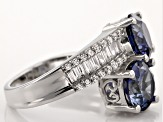 Blue And White Cubic Zirconia Silver Ring 5.98ctw