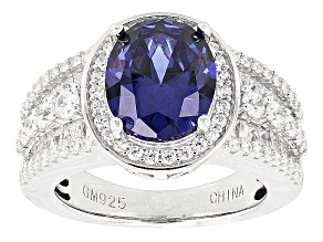 Blue And White Cubic Zirconia Rhodium Over Silver Ring 9.74ctw