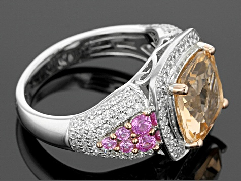 Morganite Simulant, Lab Created Pink Sapphire And White Cubic Zirconia Silver Ring 4.81ctw