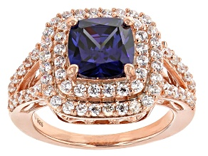Blue And White Cubic Zirconia 18k Rose Gold Over Silver Ring 5.87ctw