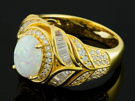 Synthetic Opal And White Cubic Zirconia 18k Yellow Gold Over Silver Ring 2.59ctw