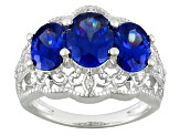 Blue And White Cubic Zirconia Rhodium Over Silver Ring 4.92ctw
