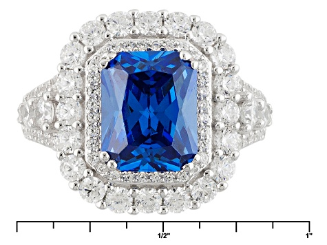Blue And White Cubic Zirconia Silver Ring 7.51ctw