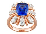 Blue And White Cubic Zirconia 18k Rg Over Sterling Silver Ring 6.58ctw