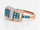 Blue And White Cubic Zirconia 18k Rose Gold Over Silver Ring 1.93ctw