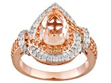 Morganite Simulant And White Cubic Zirconia 18k Rose Gold Over Silver Ring 2.72ctw