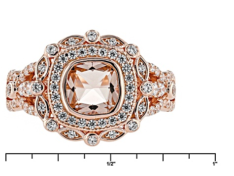 Morganite Simulant And White Cubic Zirconia 18k Rose Gold Over Silver Ring 1.88ctw