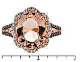 Morganite Simulant And Brown And White Cubic Zirconia 4.08ctw 18k Rose Gold Over Silver Ring 4.08ctw