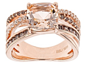 Morganite Simulant And Brown And White Cubic Zirconia 18k Rose Gold Over Silver Ring 2.18ctw