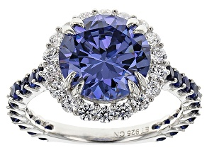 Blue And White Cubic Zirconia And Synthetic Sapphire Silver Ring 7.67ctw