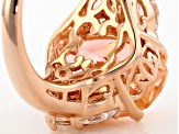 Morganite Simulant And White Cubic Zirconia 18k Rose Gold Over Silver Ring 7.06ctw