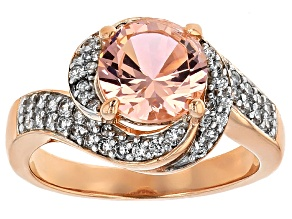 Morganite Simulant And White Cubic Zirconia 18k Rose Gold Over Silver Ring 2.25ctw
