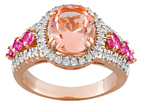 Morganite Simulant Synthetic Pink Sapphire And White Cubic Zirconia 18k Rose Gold Over Silver Ring